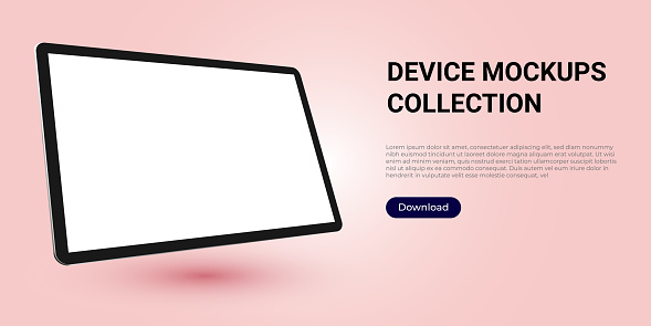 Realistic template mock up of a digital tablet for web design, webpages, banners, landings, presentations. Rotated, angled.