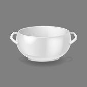 Realistic template, mock-up, porcelain ceramic ware. Tableware for cooking, cooking utensils for serving table, food, lunch and dinner, a bowl for soup. Vector illustration isolated.