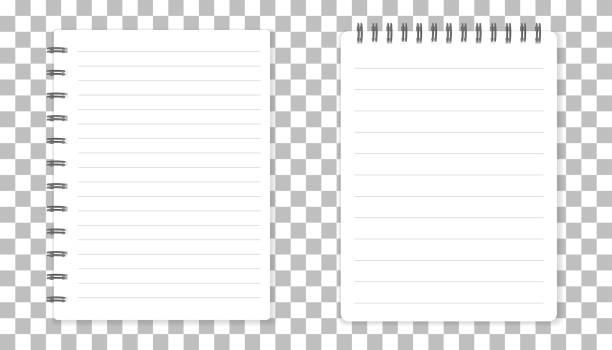 ilustraciones, imágenes clip art, dibujos animados e iconos de stock de bloc de notas con espiral de plantilla realista. diseño de tapa. diario de negocios de la escuela. cuaderno de papelería de oficina en fondo aislado - fiesta en la oficina