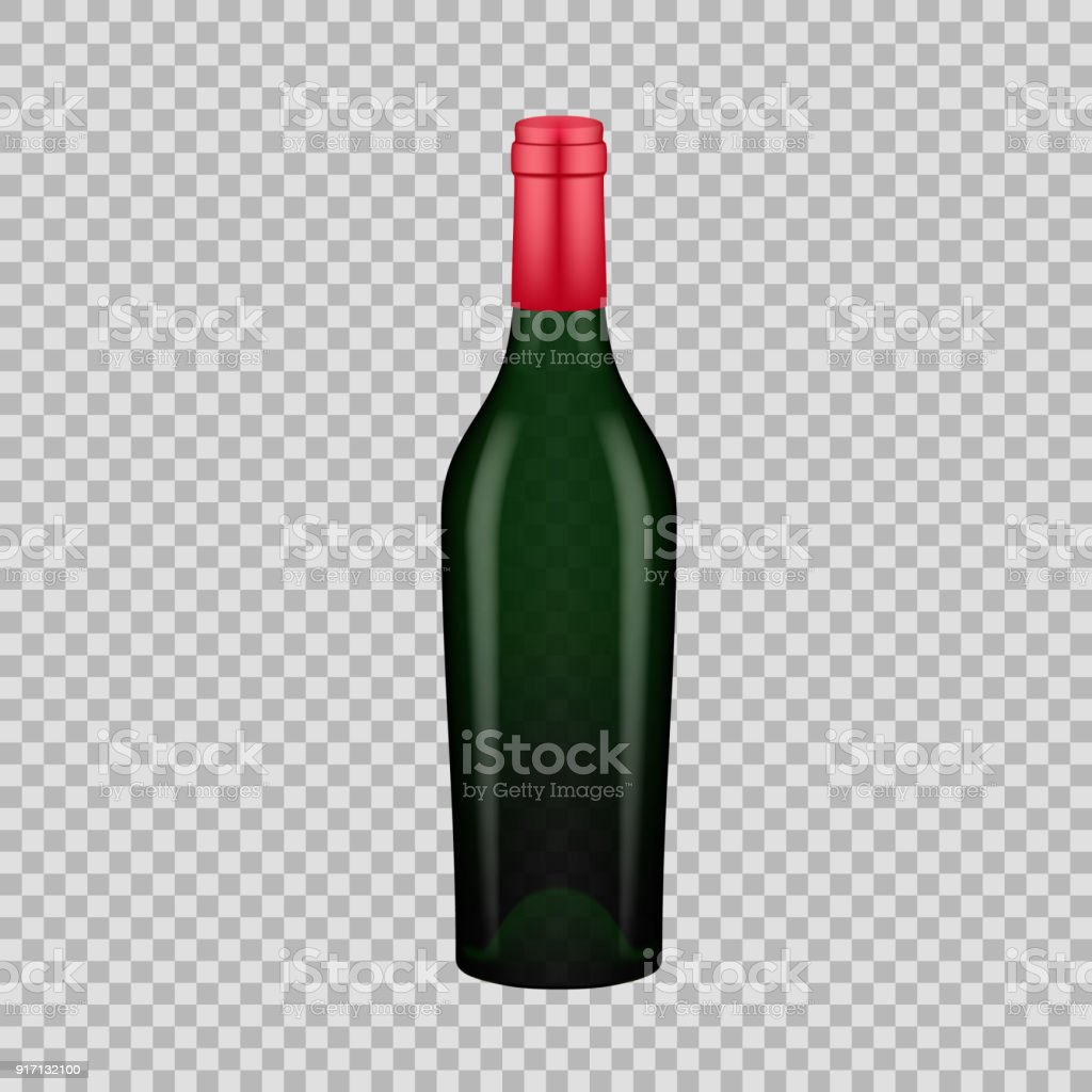 Realistic Template Of Empty Glass Wine Bottle With Screw Cap Royalty Free