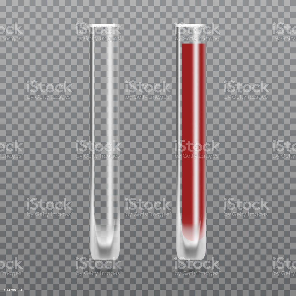 Realistic test-tube with blood. Hematology Vector illustration. vector art illustration