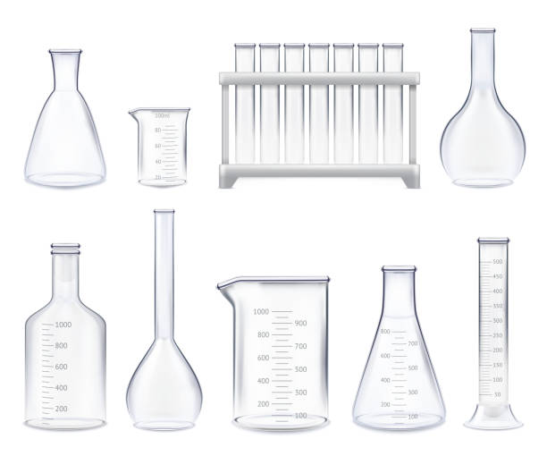 realistic test-tubes set Set of realistic test-tubes and glass jars of various shape with measuring scale isolated vector illustration laboratory glassware stock illustrations