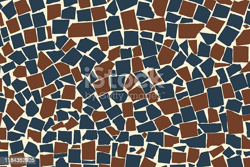 Realistic texture of blue and brown asymmetric decorative tiles wall. Modern abstract. Brickwork texture. Vector illustration