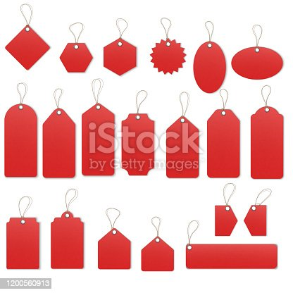 istock Realistic textured sell tags with ropes. Vector. 1200560913