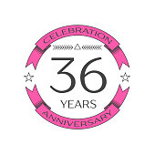 Realistic thirty six years anniversary celebration with ring and ribbon on white background. Vector template for your design