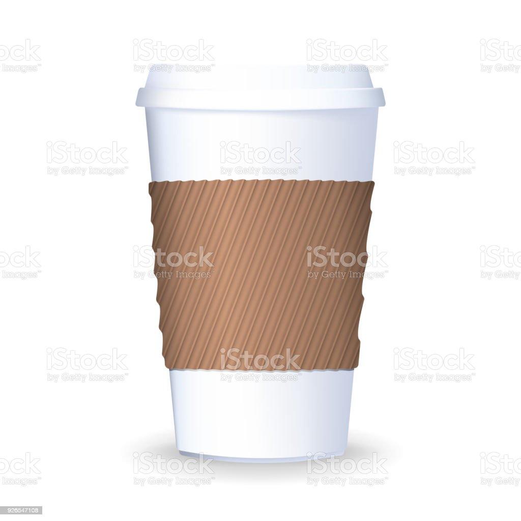 Realistisch Zu Gehen Und Zum Mitnehmen Kaffee Pappbecher Mit Deckel ...