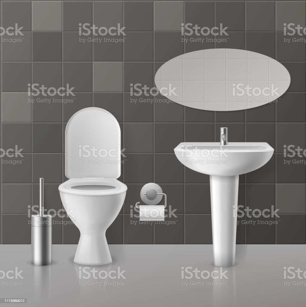 Realistic Toilet Interior White Toilets Mockup And Ceramics Sanitary Objects Bowl Sink With Faucet Wc Seat And Mirror Vector Concept Stock Illustration Download Image Now Istock