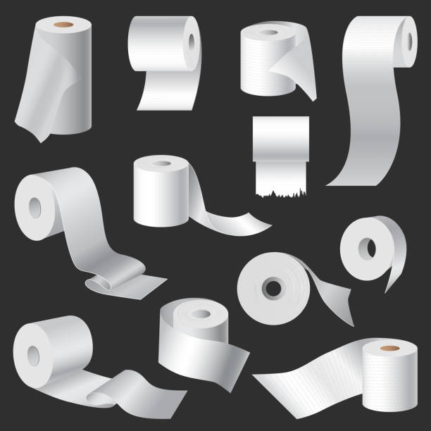 Realistic toilet paper and kitchen towel roll template mockup set isolated vector illustration blank white 3d packaging Realistic toilet paper and kitchen towel roll template mockup set isolated vector illustration blank white 3d packaging. 3d packaging kitchen towel and toilet paper roll, cash register tape, toilet paper stock illustrations