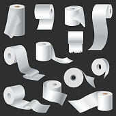 Realistic toilet paper and kitchen towel roll template mockup set isolated vector illustration blank white 3d packaging