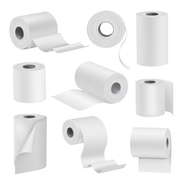 realistic toilet paper in rolls, white set - papier toaletowy stock illustrations