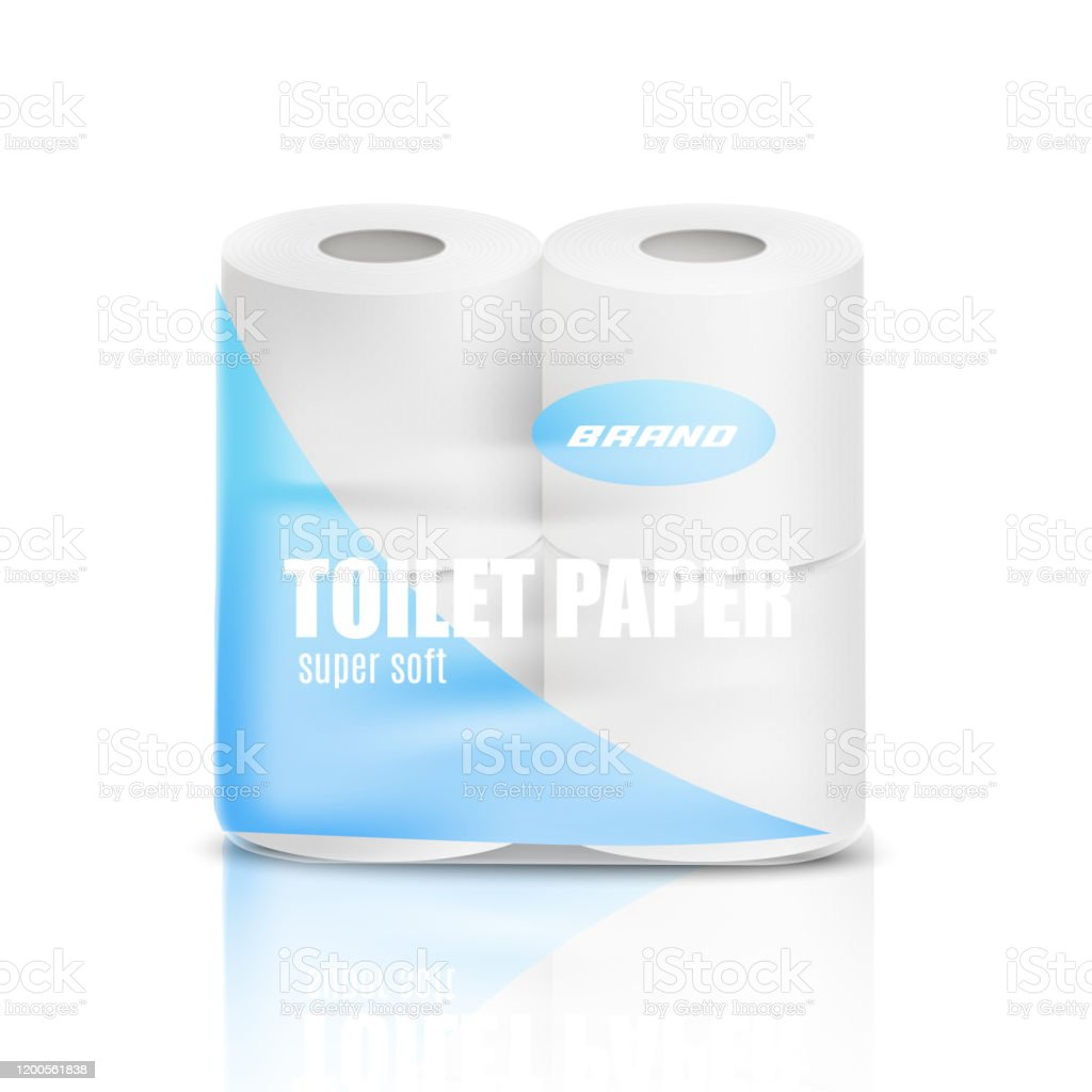 Realistic toilet paper pack mockup isolated on white background. - Grafika wektorowa royalty-free (Biały)