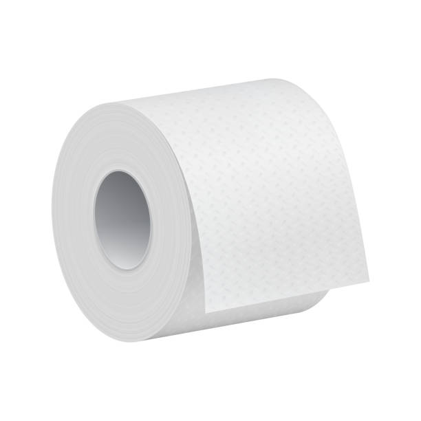 realistic toilet paper roll mock up template - papier toaletowy stock illustrations