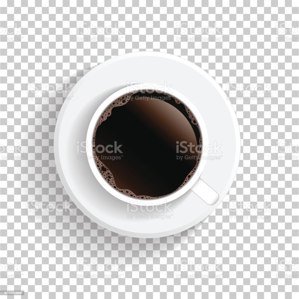Coffee cup transparent - Realistic Top View White Coffee Cup And Saucer Isolated On Transparent Background Vector Eps10 Illustration
