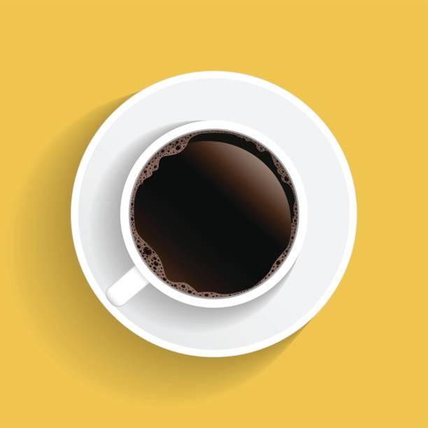 Vista superior realista blanco café taza y plato aislado sobre fondo amarillo. Ilustración - ilustración de arte vectorial