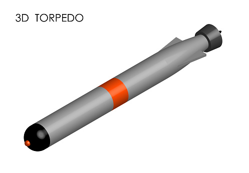 realistic torpedo for submarine. Weapons of war at sea and in ocean. 3D Vector