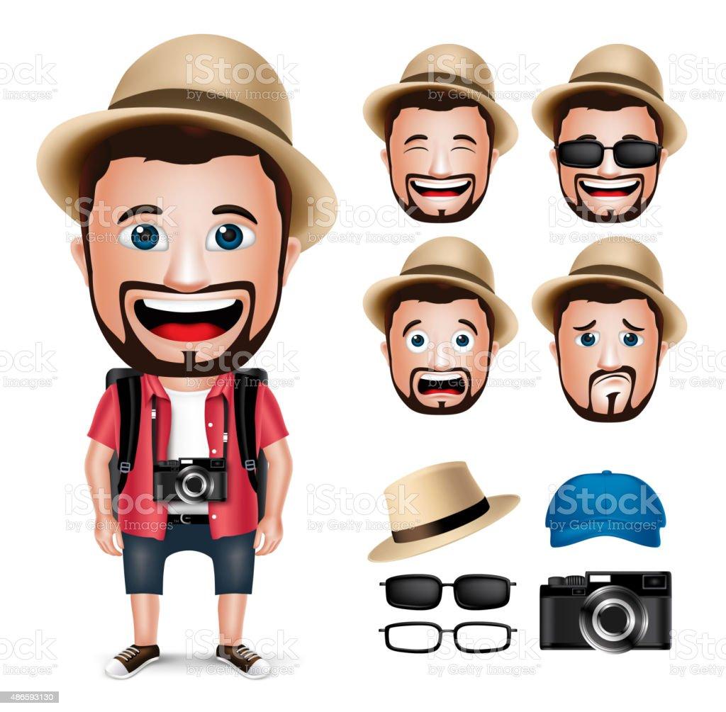 3D Realistic Tourist Man Character Wearing Casual Dress with Camera vektör sanat illüstrasyonu
