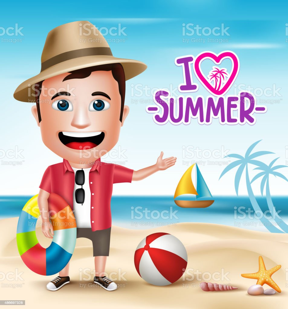 3D Realistic Tourist Man Character Wearing Summer Outfit vector art illustration