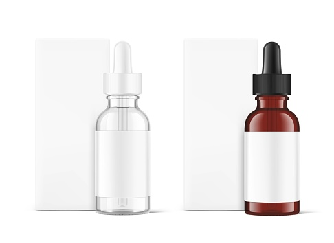 Realistic transparent and brown glass dropper bottle mockups.