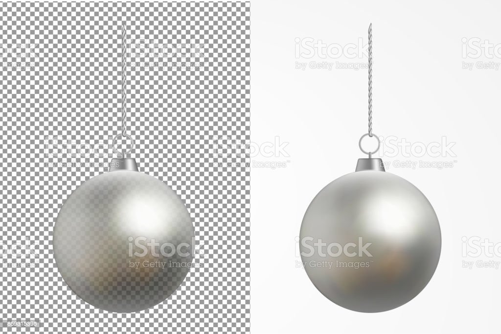 Realistic transparent Christmas ball. New year toy vector art illustration