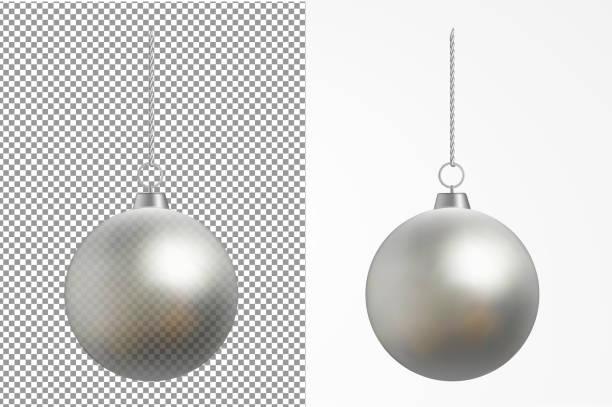 현실적인 투명 크리스마스 볼입니다. 새 해 장난감 - 크리스마스 장식 stock illustrations