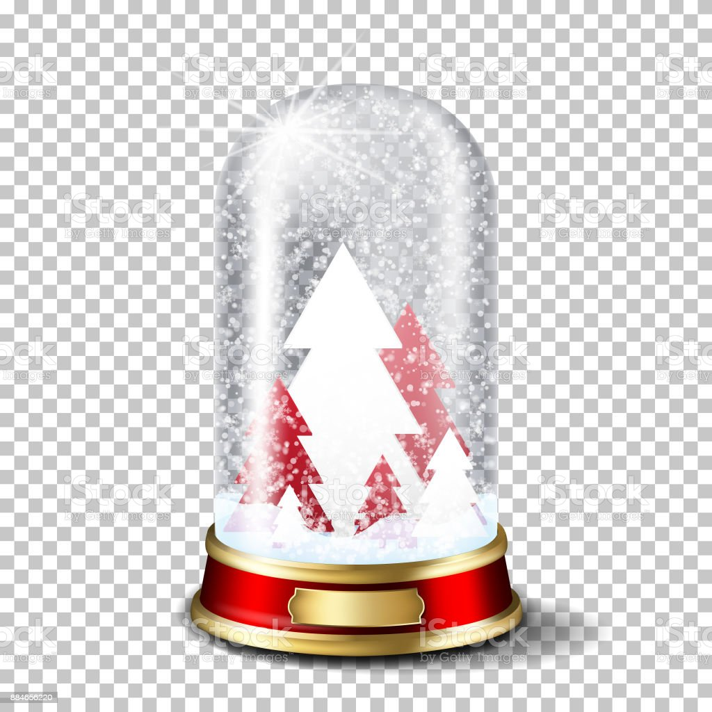 Realistic transparent christmas glass snow globe with christmas tree, isolated. vector art illustration
