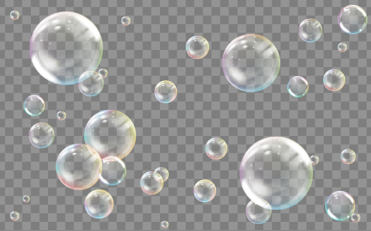 Transparent colored soap or water bubbles. Vector.