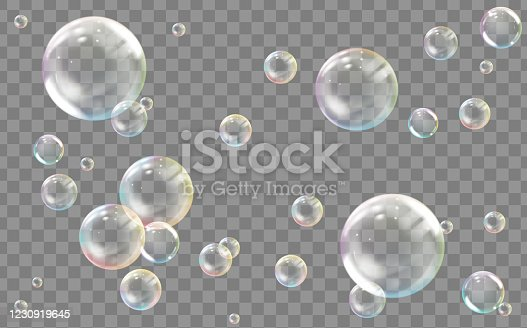 istock Realistic transparent colored soap or water bubble 1230919645