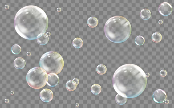 Realistic transparent colored soap or water bubble vector art illustration