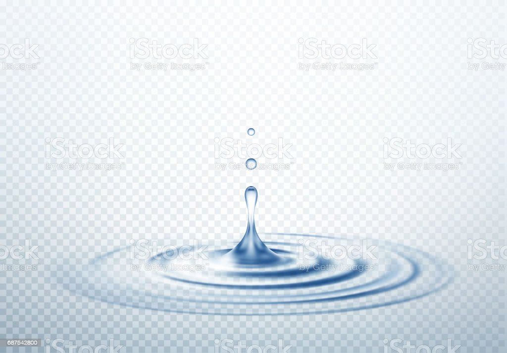 Realistic Transparent Drop and Circle Ripples isolated background. Vector illustration - illustrazione arte vettoriale