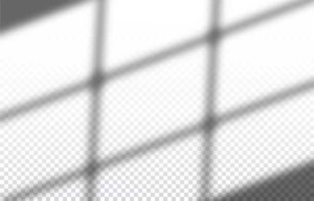 realistyczny przezroczysty cień okna na ścianie, efekt nakładki do zdjęcia, prezentacja projektu. ilustracja wektorowa - store stock illustrations