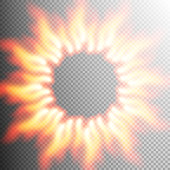 Realistic transparent fire flame frame with text space on black white background. Special light effect. Translucent bonfire elements. For your design and business. EPS 10 vector file included