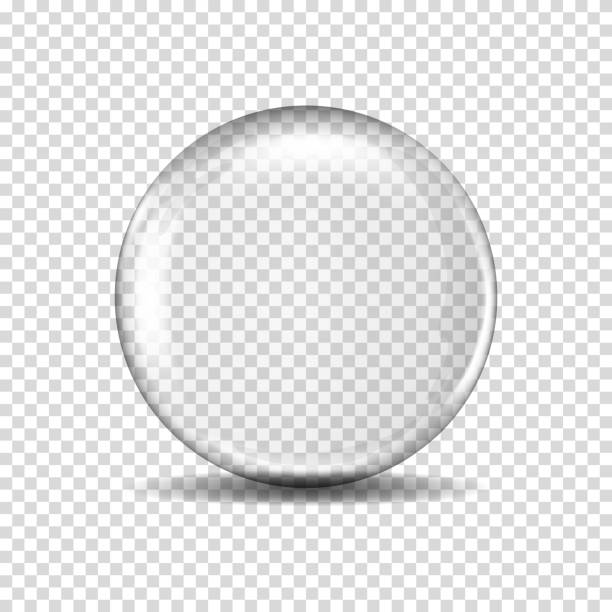 illustrazioni stock, clip art, cartoni animati e icone di tendenza di realistic transparent glass ball, isolated - glass world