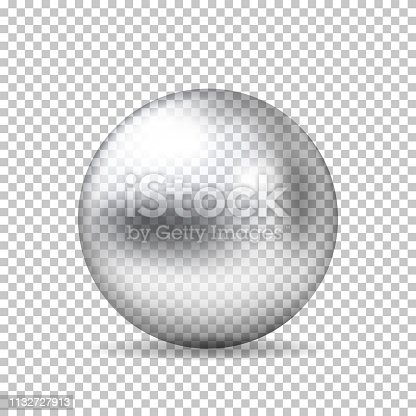 Realistic transparent glass ball, isolated.