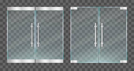 Realistic transparent glass doors with metallic handles. Vector illustration.