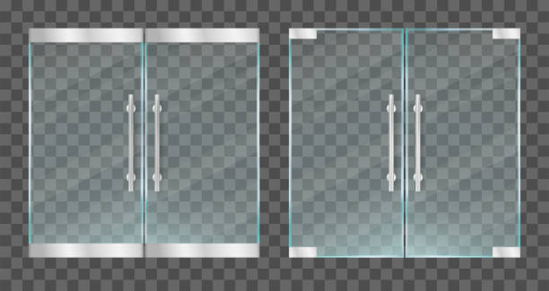 Realistic transparent glass doors with metallic handles. Vector illustration. Realistic transparent glass doors with metallic handles. Vector illustration handle stock illustrations