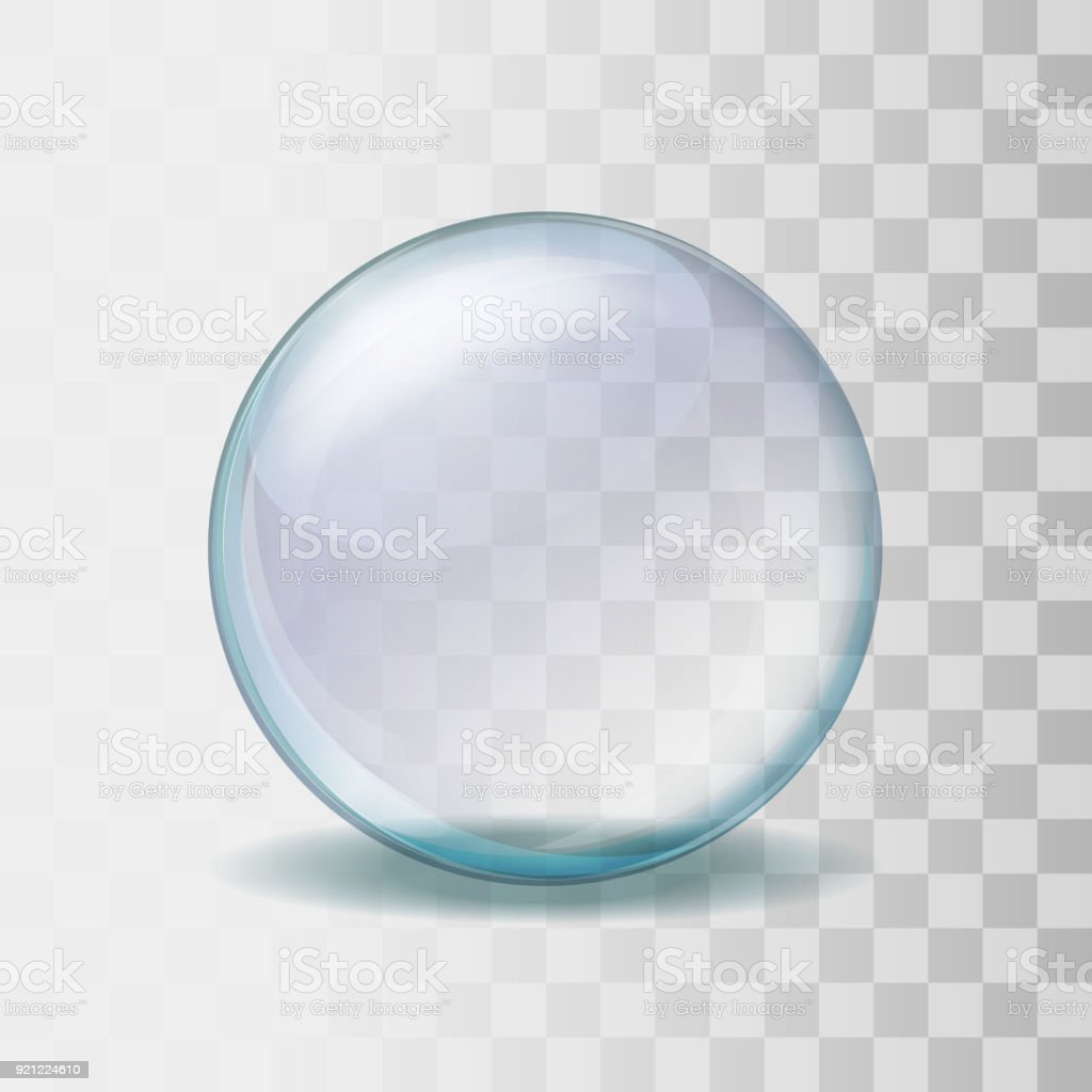 Realistic transparent glass sphere illustration - Grafika wektorowa royalty-free (Abstrakcja)