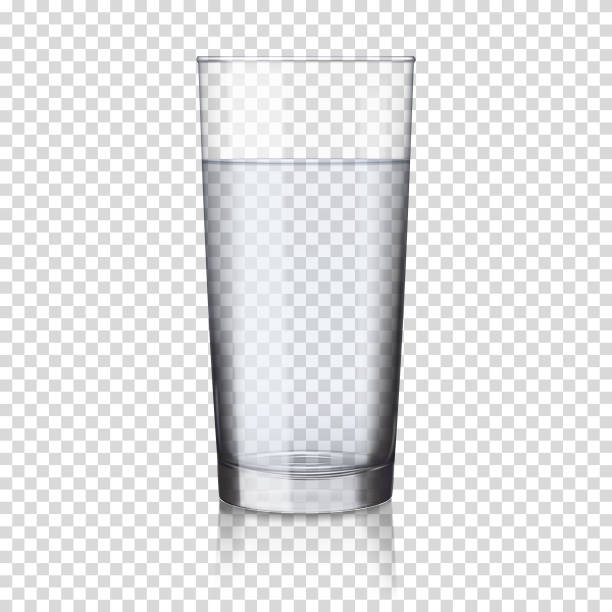 realistic transparent glass with water, isolated. - alcohol drink silhouettes stock illustrations