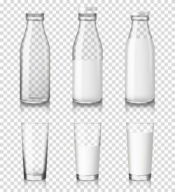 bildbanksillustrationer, clip art samt tecknat material och ikoner med realistiska transparent glas och flaskor med en mjölk, isolerad på transparent bakgrund. - glas