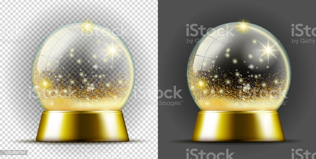 Realistic transparent gold snow ball.