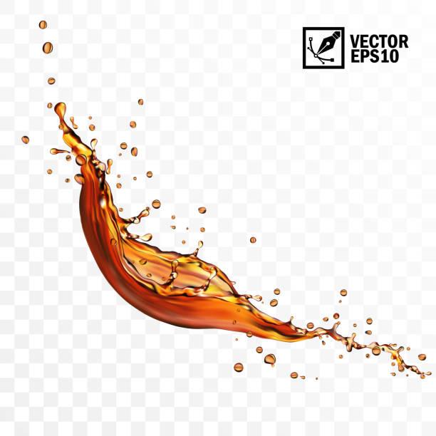 realistische transparente isolierte vektor fallen spritzer von tee, kaffee oder cola - splash stock-grafiken, -clipart, -cartoons und -symbole
