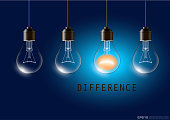 Realistic Transparent Light Bulb Difference Concept