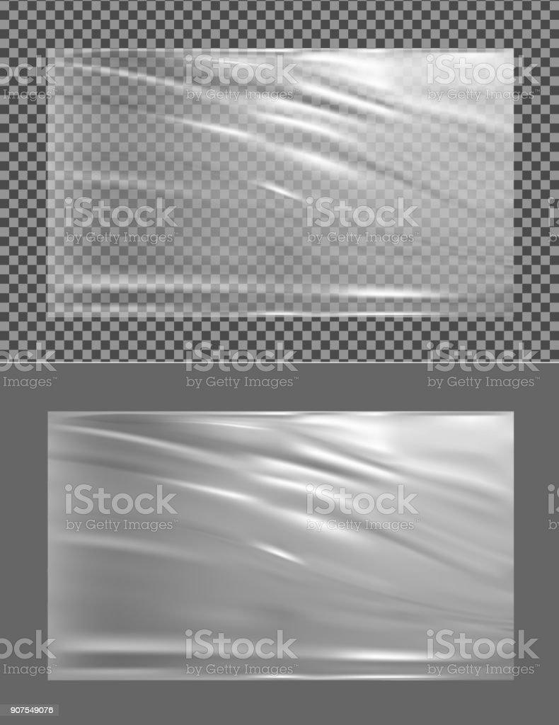 Realistic Transparent Plastic Wrapper Stock Illustration