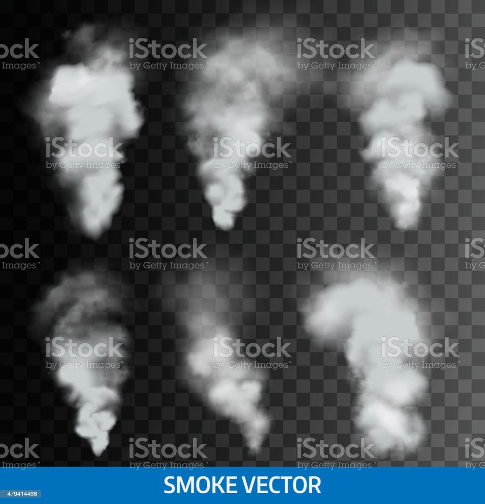 Realistic transparent smoke, steam. Vector vector art illustration