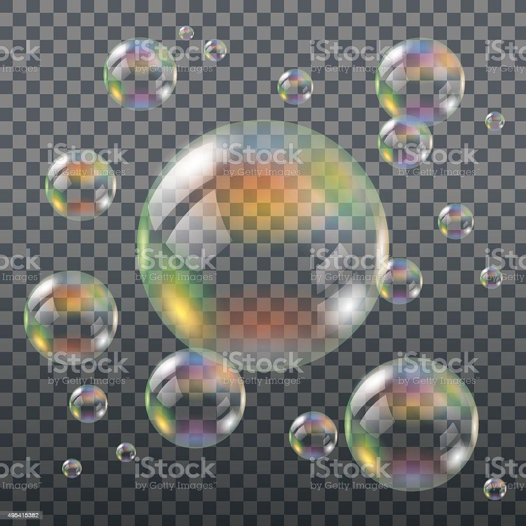Realistic Transparent Soap Bubbles vector art illustration