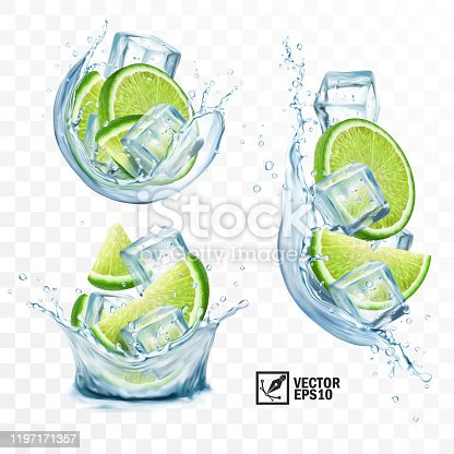 3D realistic transparent vector set splash mojito, Ice cubes, mint leaves, water splash and lime