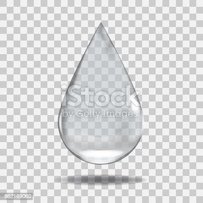 Realistic Transparent water drop. Useful with any background. Illustrated vector.