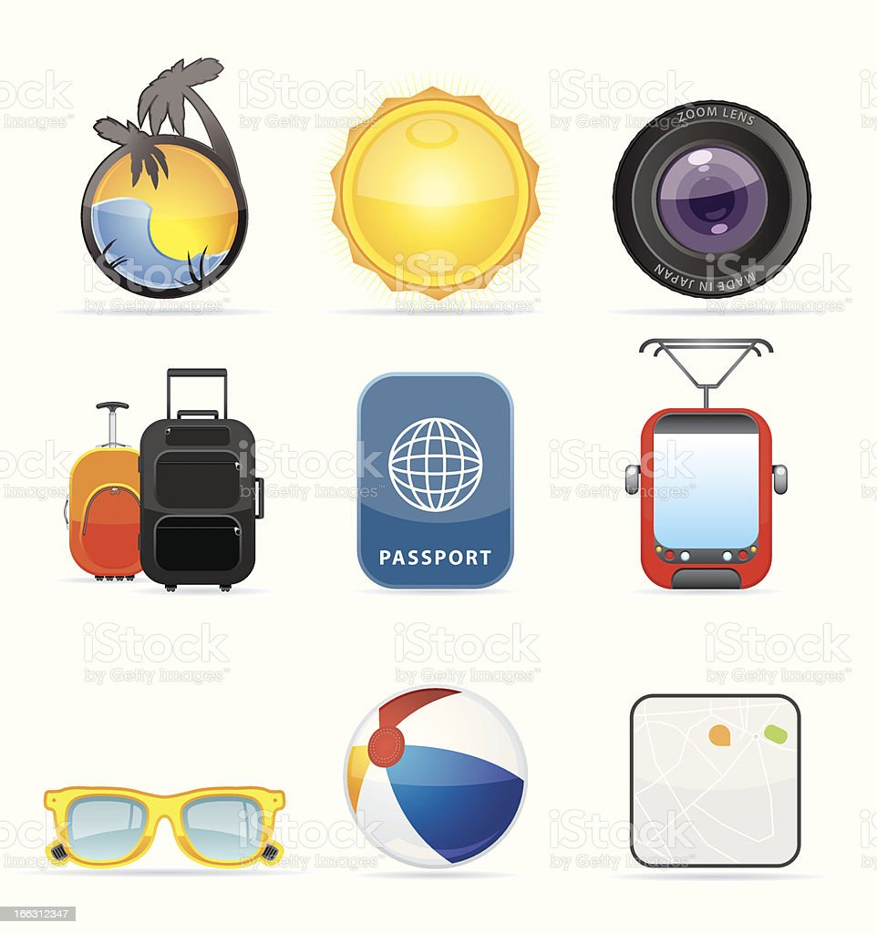 Realistic transportation / travel icons set royalty-free stock vector art