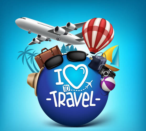 3d realistic travel and tour poster design around the world - tourism stock illustrations