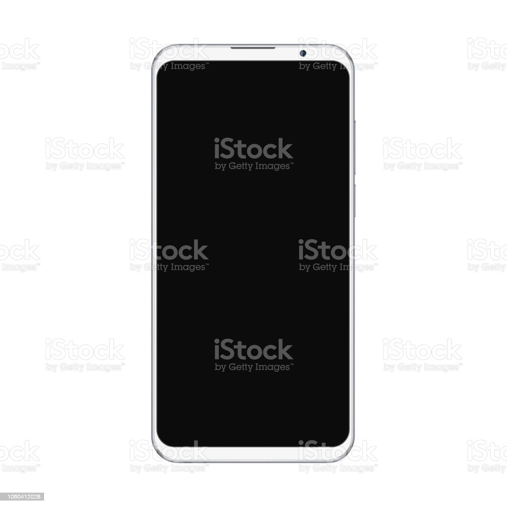 Realistic trendy white smartphone mockup with blank black screen isolated on white background. For any user interface test or presentation.