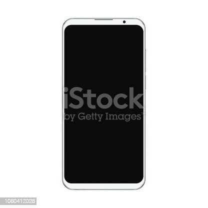 Realistic trendy white smartphone mockup with blank black screen isolated on white background. For any user interface test or presentation